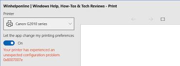 Printer Configuration Problem 0x8007007e