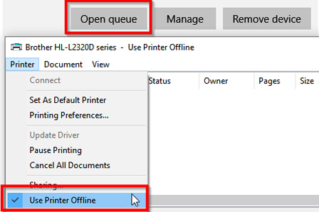 How to Change printer status to Offline to Online